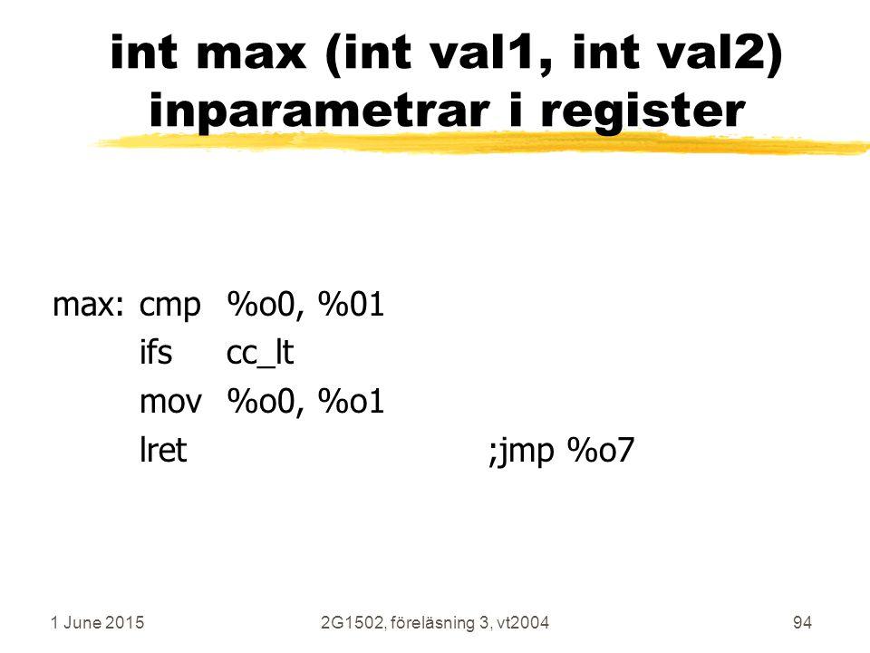 1 June 20152G1502, föreläsning 3, vt200494 int max (int val1, int val2) inparametrar i register max:cmp%o0, %01 ifscc_lt mov%o0, %o1 lret;jmp %o7