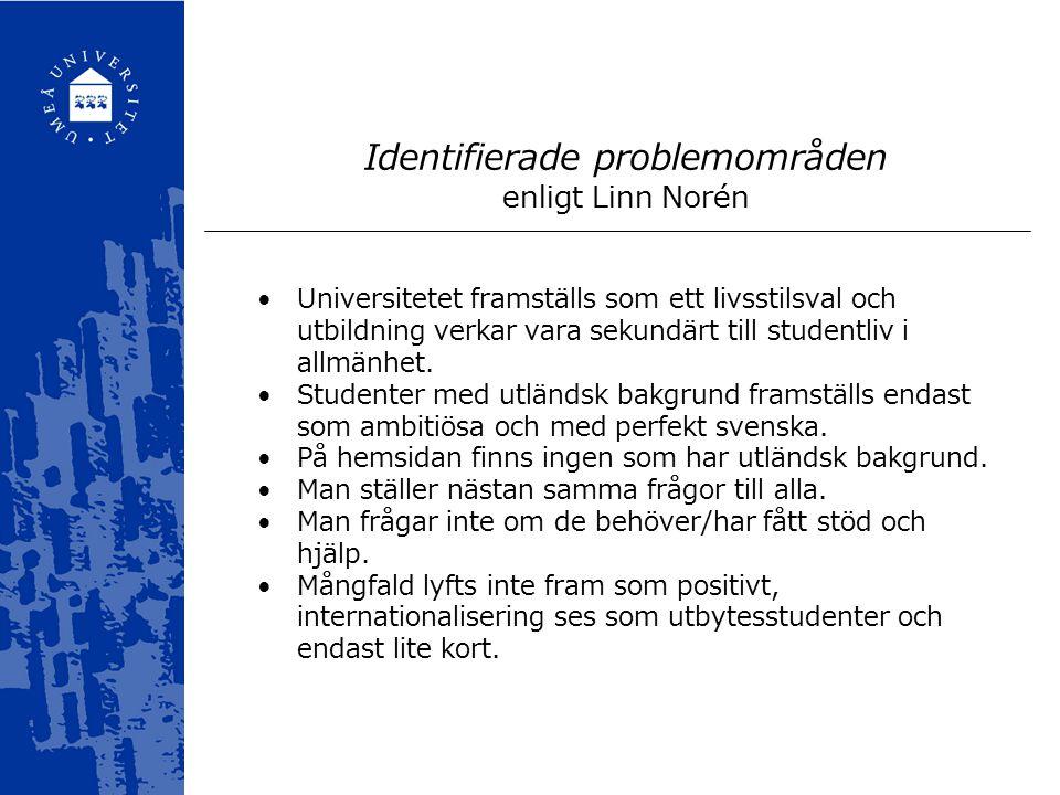 Identifierade problemområden enligt Linn Norén Universitetet framställs som ett livsstilsval och utbildning verkar vara sekundärt till studentliv i allmänhet.