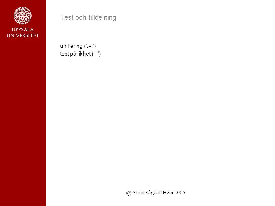 @ Anna Sågvall Hein 2005 Test och tilldelning unifiering (':=:') test på likhet ('=')