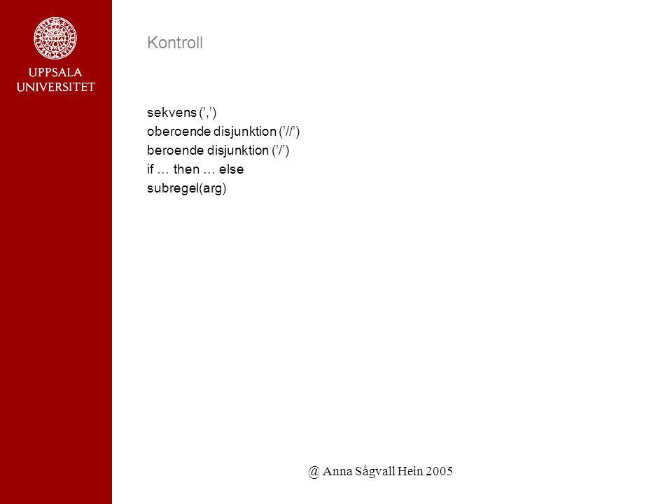 @ Anna Sågvall Hein 2005 Kontroll sekvens (',') oberoende disjunktion ('//') beroende disjunktion ('/') if … then … else subregel(arg)
