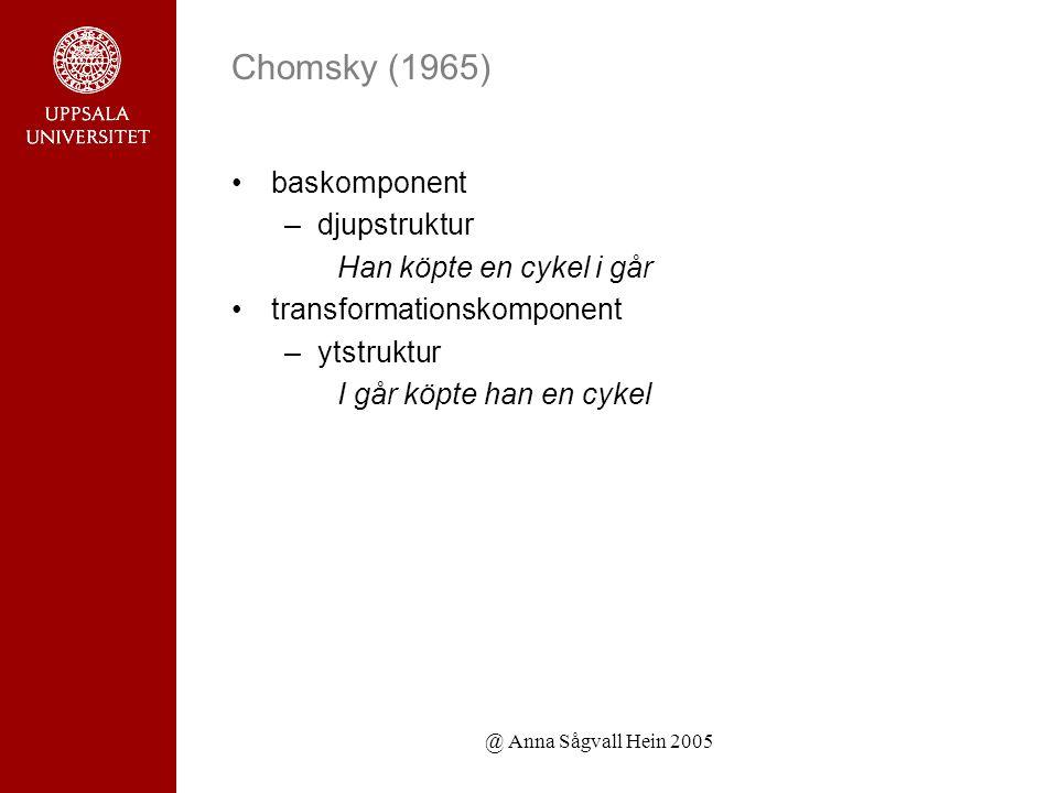 @ Anna Sågvall Hein 2005 Chomsky (1965) baskomponent –djupstruktur Han köpte en cykel i går transformationskomponent –ytstruktur I går köpte han en cykel
