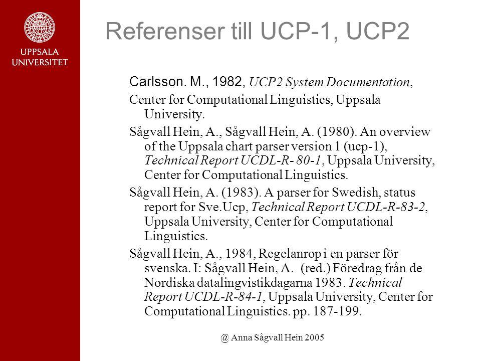 @ Anna Sågvall Hein 2005 Referenser till UCP-1, UCP2 Carlsson.