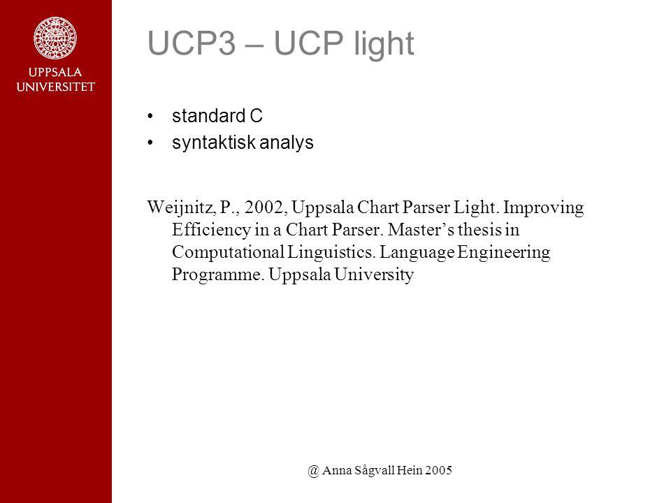 @ Anna Sågvall Hein 2005 UCP3 – UCP light standard C syntaktisk analys Weijnitz, P., 2002, Uppsala Chart Parser Light.