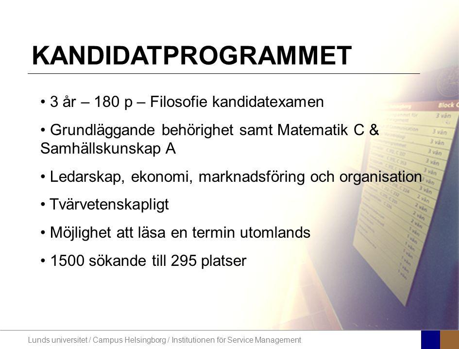 Lunds universitet / Campus Helsingborg / Institutionen för Service Management STUDENTEN 80% kvinnor 62% är mellan 20-23 år 78% har läst samhälle eller natur på gymnasiet 14% av studenterna är födda utomlands 84% har arbetslivserfarenhet från relevanta branscher