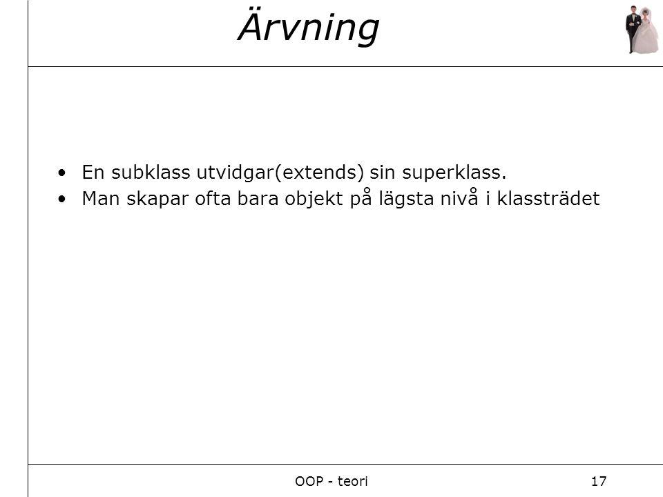 OOP - teori17 Ärvning En subklass utvidgar(extends) sin superklass.