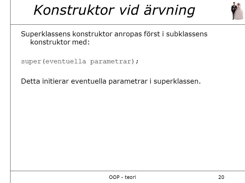 OOP - teori20 Konstruktor vid ärvning Superklassens konstruktor anropas först i subklassens konstruktor med: super(eventuella parametrar); Detta initierar eventuella parametrar i superklassen.
