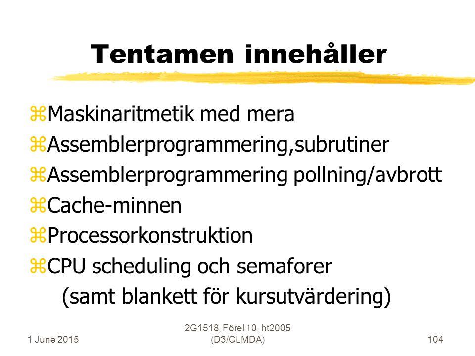 1 June 2015 2G1518, Förel 10, ht2005 (D3/CLMDA)104 Tentamen innehåller zMaskinaritmetik med mera zAssemblerprogrammering,subrutiner zAssemblerprogrammering pollning/avbrott zCache-minnen zProcessorkonstruktion zCPU scheduling och semaforer (samt blankett för kursutvärdering)