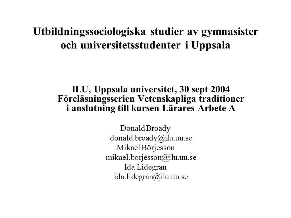 Skolornas sociala rekrytering, elever i årskurs två (IV-elever ej medtagna), Uppsalaregionen, 1997-2001, sorterad efter minskande andel höga betyg.