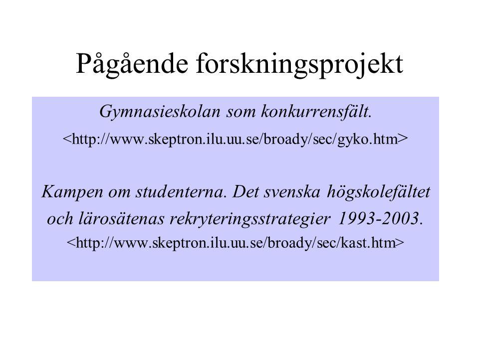 Det svenska högskolefältet 1998 (utbildningar)
