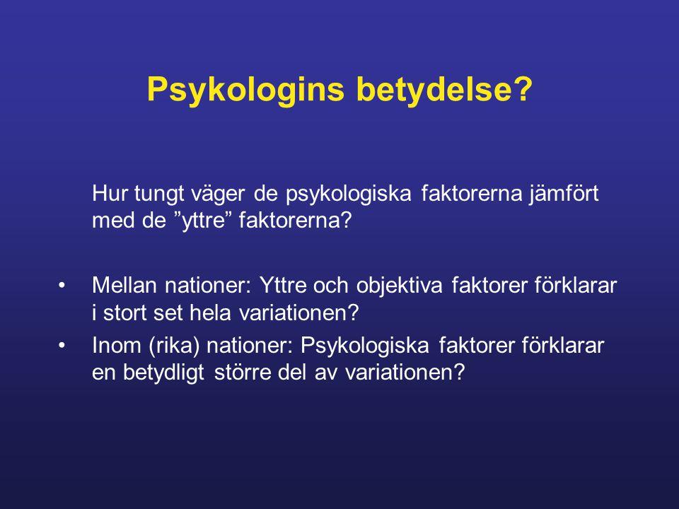 Psykologins betydelse.