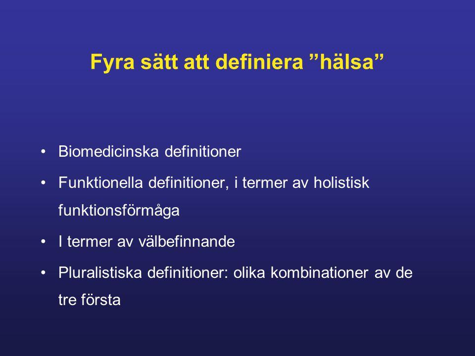 Fyra sätt att definiera hälsa Biomedicinska definitioner Funktionella definitioner, i termer av holistisk funktionsförmåga I termer av välbefinnande Pluralistiska definitioner: olika kombinationer av de tre första