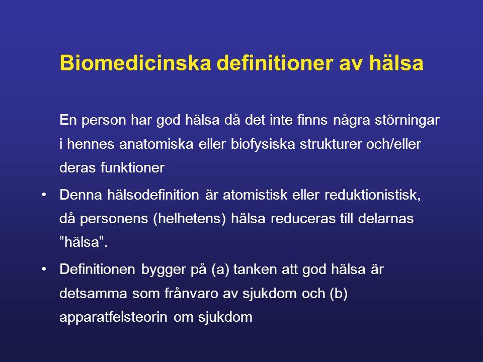 Biomedicinska definitioner av hälsa En person har god hälsa då det inte finns några störningar i hennes anatomiska eller biofysiska strukturer och/eller deras funktioner Denna hälsodefinition är atomistisk eller reduktionistisk, då personens (helhetens) hälsa reduceras till delarnas hälsa .