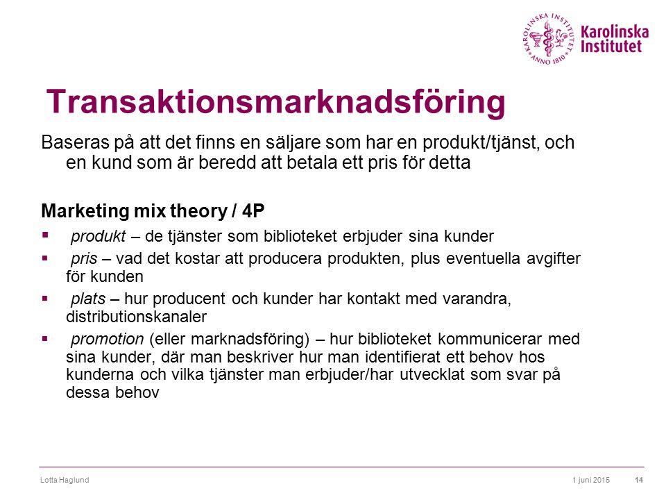 1 juni 2015Lotta Haglund14 Transaktionsmarknadsföring Baseras på att det finns en säljare som har en produkt/tjänst, och en kund som är beredd att bet