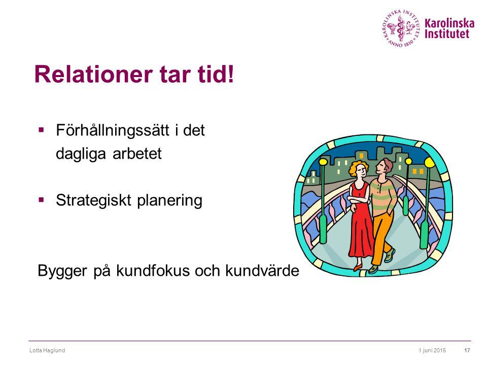 1 juni 2015Lotta Haglund17 Relationer tar tid!  Förhållningssätt i det dagliga arbetet  Strategiskt planering Bygger på kundfokus och kundvärde