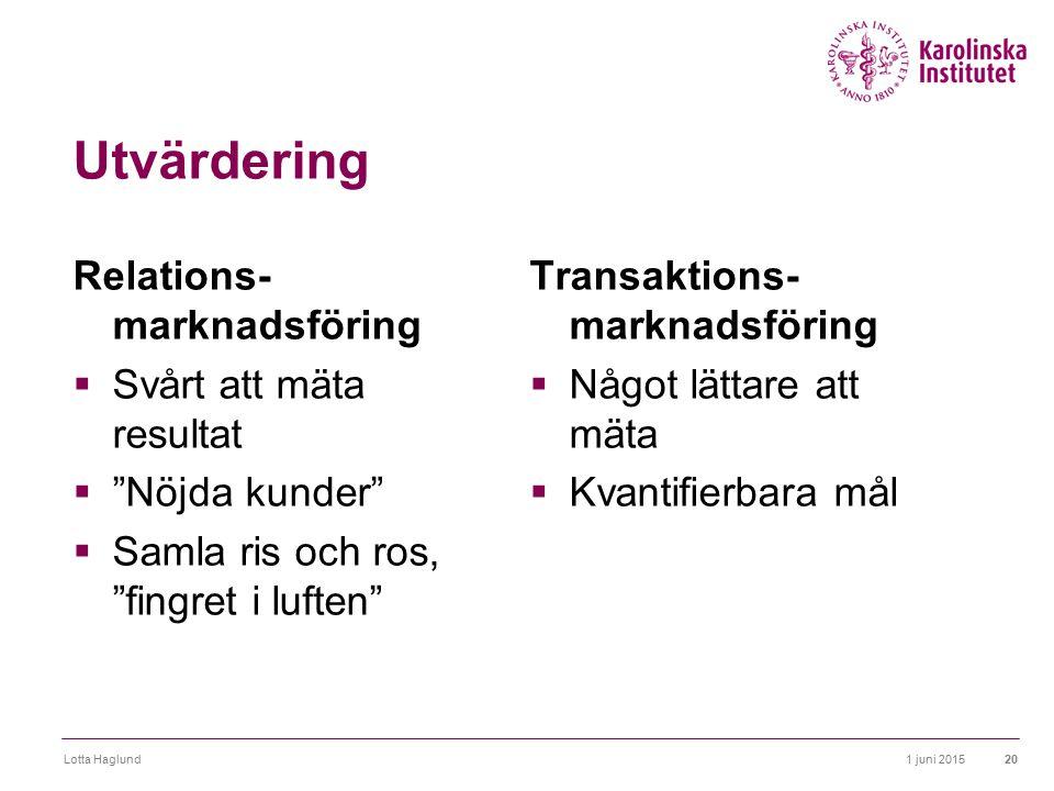 """1 juni 2015Lotta Haglund20 Utvärdering Relations- marknadsföring  Svårt att mäta resultat  """"Nöjda kunder""""  Samla ris och ros, """"fingret i luften"""" Tr"""