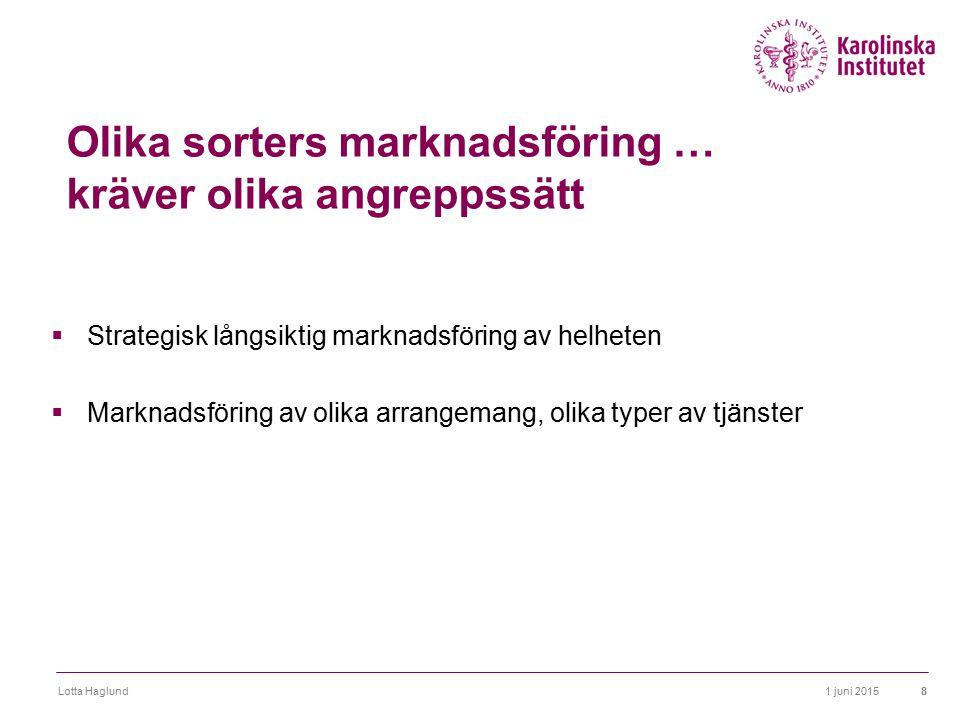 1 juni 2015Lotta Haglund8 Olika sorters marknadsföring … kräver olika angreppssätt  Strategisk långsiktig marknadsföring av helheten  Marknadsföring
