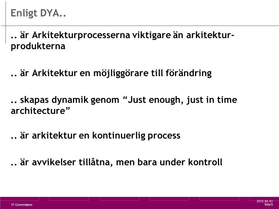 2015-06-01 IT-Governance Sida 6 Kopplat till vår agenda DYA Enterprise Architecture Governance Transformerings- plan Organisation DYA föreskriver Architecture governance - Inte arkitekturen utan vägen dit -En kontinerlig process..