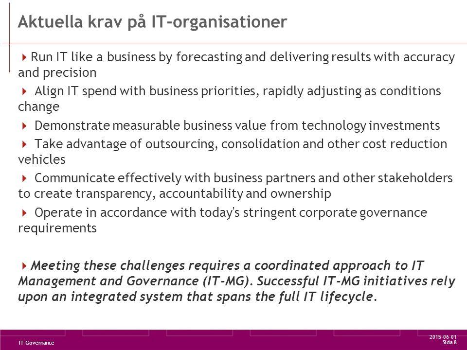2015-06-01 IT-Governance Sida 9 En svensk definition  IT Governance är en del av styrelsens och verkställande ledningens totala ansvar för att styra organisationen.