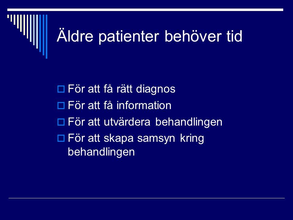 Äldre patienter behöver tid  För att få rätt diagnos  För att få information  För att utvärdera behandlingen  För att skapa samsyn kring behandlin