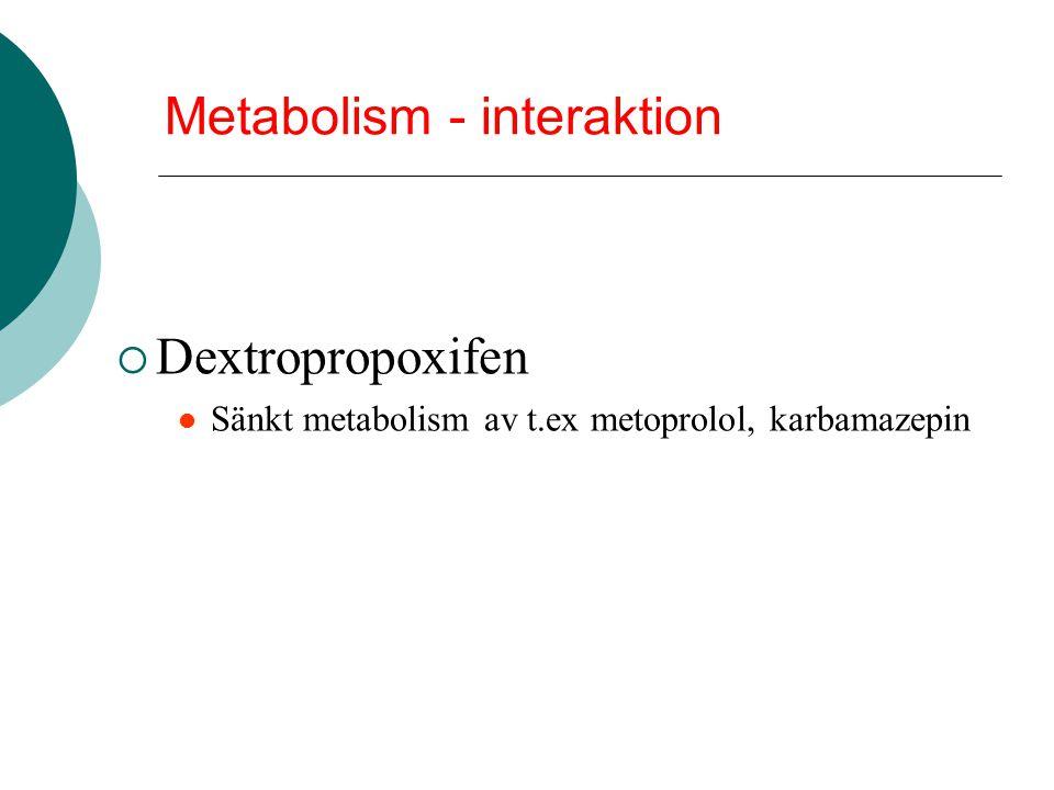 Metabolism - interaktion  Dextropropoxifen Sänkt metabolism av t.ex metoprolol, karbamazepin