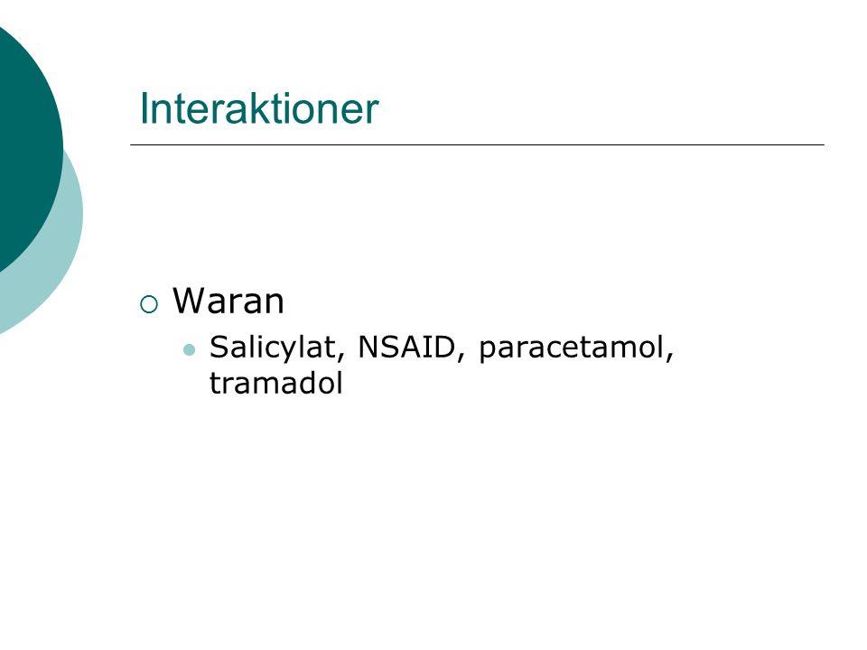 Interaktioner  Waran Salicylat, NSAID, paracetamol, tramadol