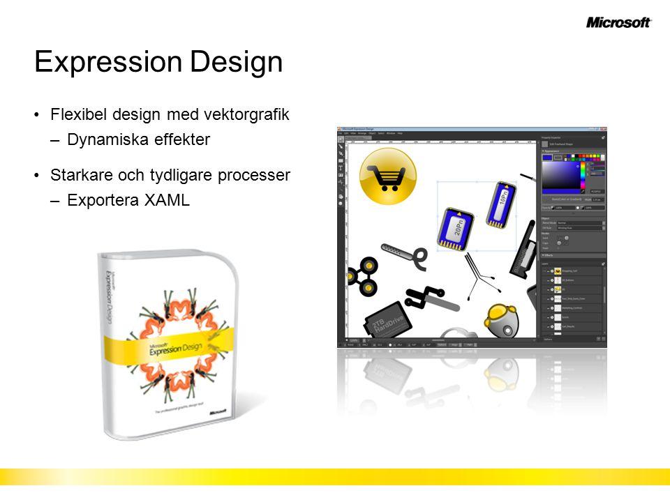 Expression Design Flexibel design med vektorgrafik –Dynamiska effekter Starkare och tydligare processer –Exportera XAML