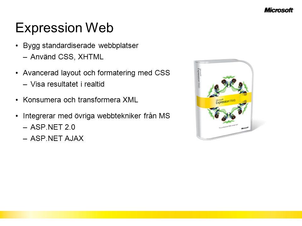 Expression Web Bygg standardiserade webbplatser –Använd CSS, XHTML Avancerad layout och formatering med CSS –Visa resultatet i realtid Konsumera och transformera XML Integrerar med övriga webbtekniker från MS –ASP.NET 2.0 –ASP.NET AJAX