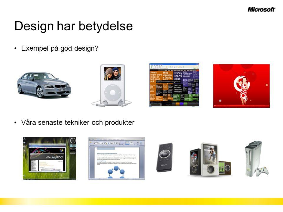 Design har betydelse Exempel på god design Våra senaste tekniker och produkter