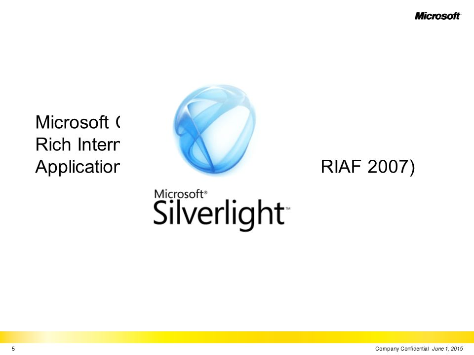 Microsoft Cross-platform Rich Internet Application Foundation 2007 (MXPRIAF 2007) Company Confidential June 1, 20155