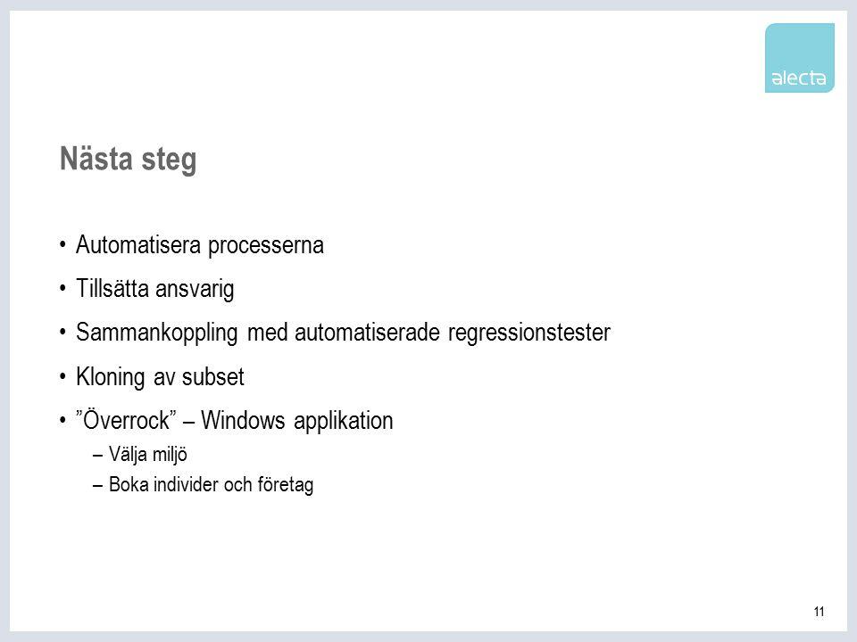 11 Nästa steg Automatisera processerna Tillsätta ansvarig Sammankoppling med automatiserade regressionstester Kloning av subset Överrock – Windows applikation –Välja miljö –Boka individer och företag