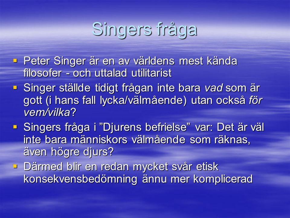 Singers fråga  Peter Singer är en av världens mest kända filosofer - och uttalad utilitarist  Singer ställde tidigt frågan inte bara vad som är gott