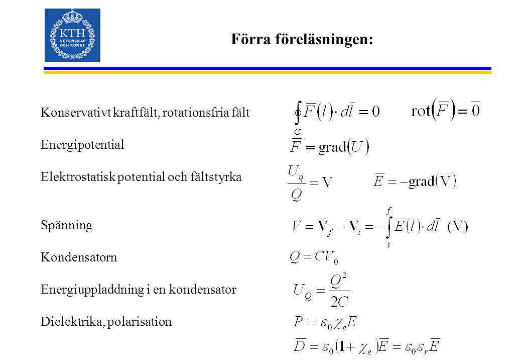 Förra föreläsningen: Konservativt kraftfält, rotationsfria fält Energipotential Elektrostatisk potential och fältstyrka Spänning Kondensatorn Energiup