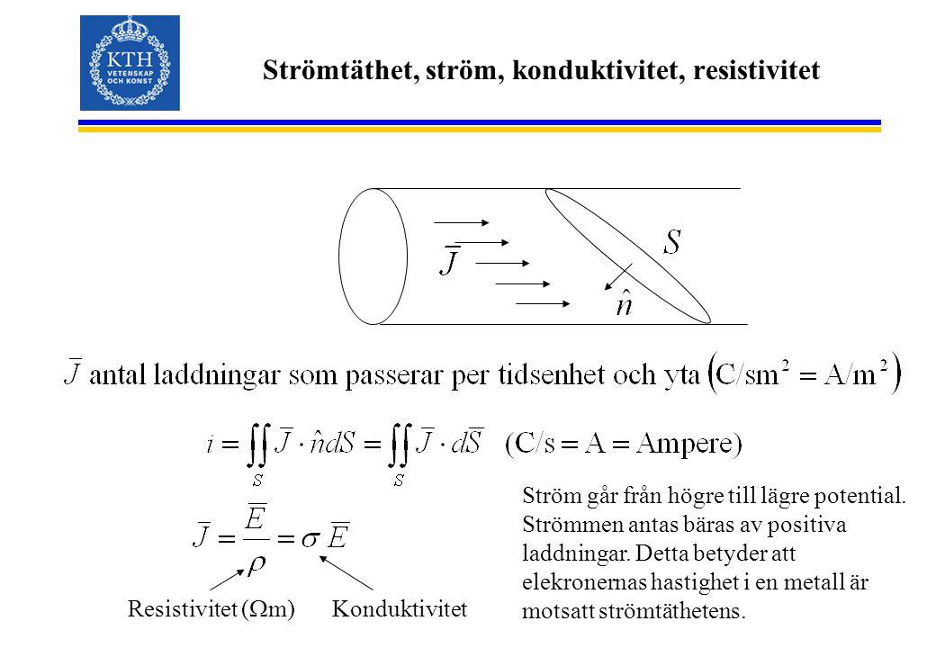 Strömtäthet, ström, konduktivitet, resistivitet Resistivitet (  m) Konduktivitet Ström går från högre till lägre potential. Strömmen antas bäras av p