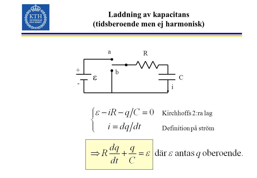 Laddning av kapacitans (tidsberoende men ej harmonisk) C + - a b R i  Kirchhoffs 2:ra lag Definition på ström