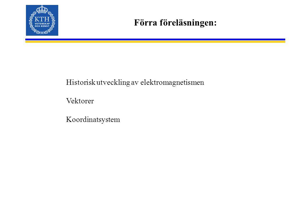 Förra föreläsningen: Historisk utveckling av elektromagnetismen Vektorer Koordinatsystem