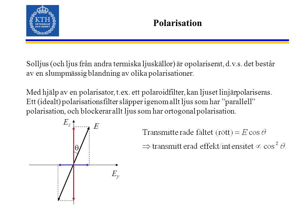Polarisation Solljus (och ljus från andra termiska ljuskällor) är opolariserat, d.v.s.