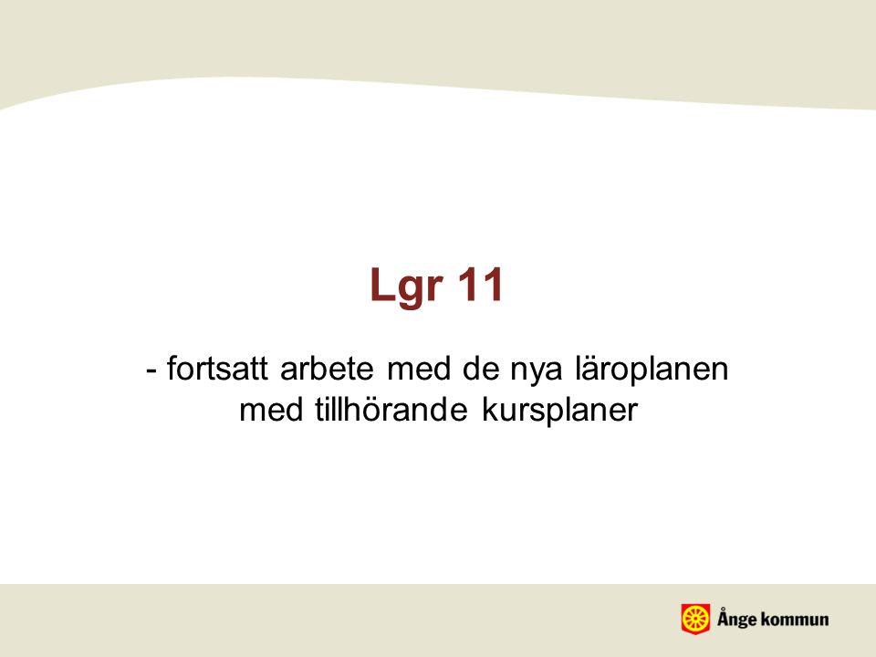 Lgr 11 - fortsatt arbete med de nya läroplanen med tillhörande kursplaner