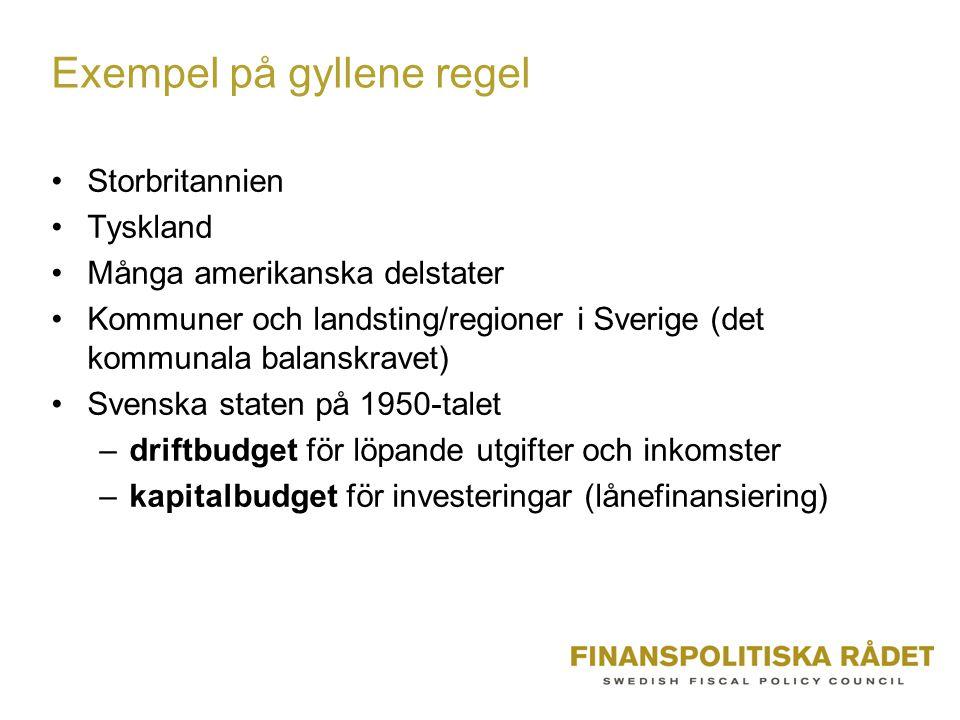 Exempel på gyllene regel Storbritannien Tyskland Många amerikanska delstater Kommuner och landsting/regioner i Sverige (det kommunala balanskravet) Svenska staten på 1950-talet –driftbudget för löpande utgifter och inkomster –kapitalbudget för investeringar (lånefinansiering)