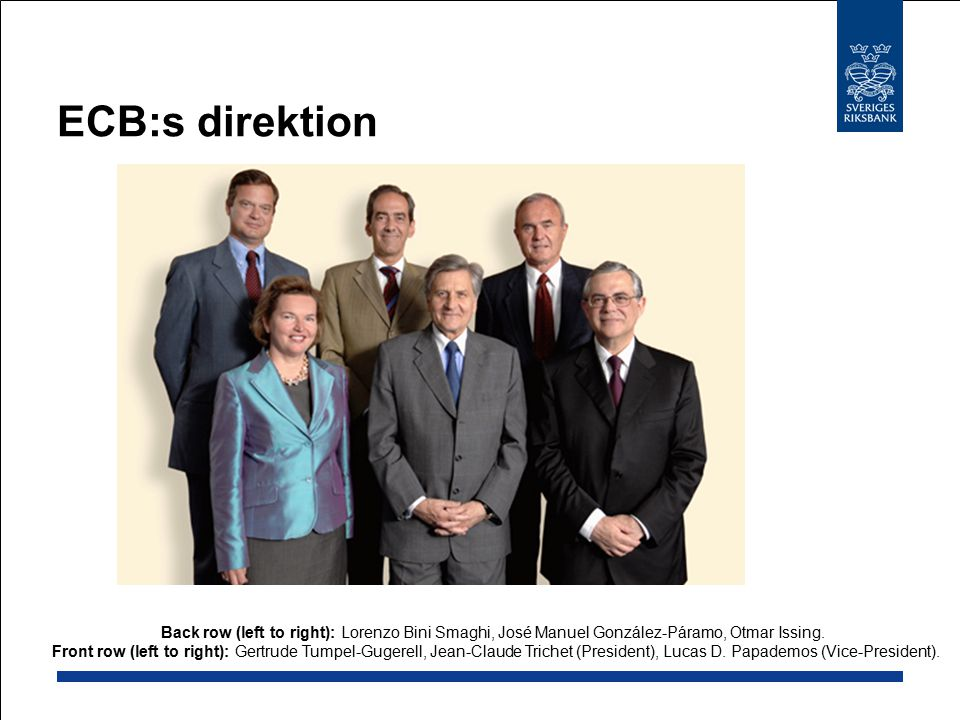 ECB:s direktion Back row (left to right): Lorenzo Bini Smaghi, José Manuel González-Páramo, Otmar Issing.