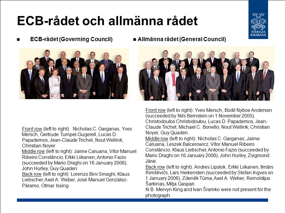 ECB-rådet och allmänna rådet ECB-rådet (Governing Council) Front row (left to right): Nicholas C.