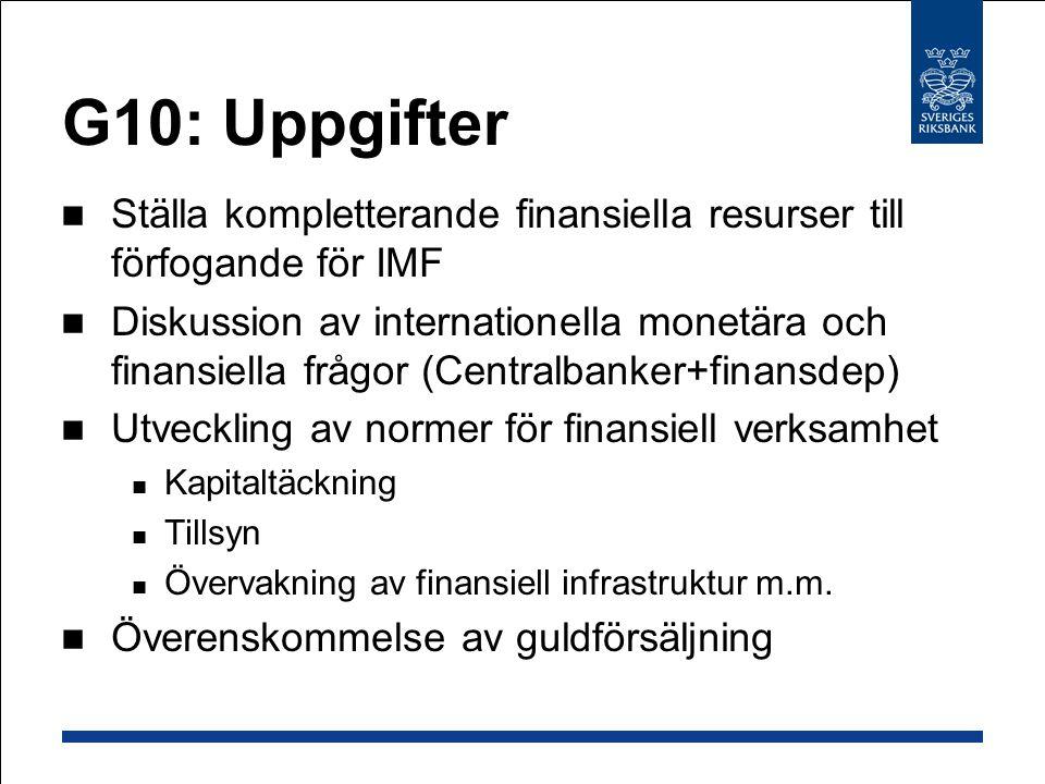 G10: Uppgifter Ställa kompletterande finansiella resurser till förfogande för IMF Diskussion av internationella monetära och finansiella frågor (Centralbanker+finansdep) Utveckling av normer för finansiell verksamhet Kapitaltäckning Tillsyn Övervakning av finansiell infrastruktur m.m.