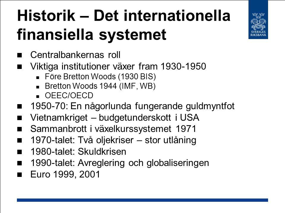 EU  Start: Medlemmar:  EEG 1957: Skapa en gemensam marknad med fri rörlighet för varor, personer, tjänster och kapital  EU 1993: Skapa en ekonomisk och monetär union  EMU 1999: Introduktion av euron (valutaunionen)  25 länder