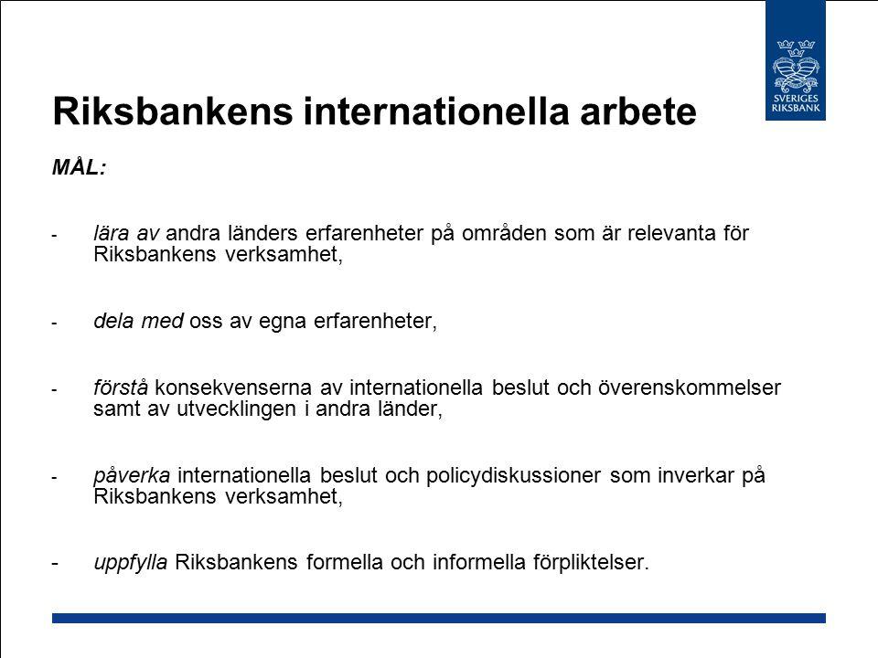 EU: Ekonomiska och finansiella området Övervaka den ekonomiska och finansiella situationen i MS Ekonomisk-politisk samordning Arbeta för inre marknaden/ finansiell integration Direktiv: Ska implementeras nationellt Förordningar: Gäller direkt i alla MS Förebyggande och hantering av finansiella kriser