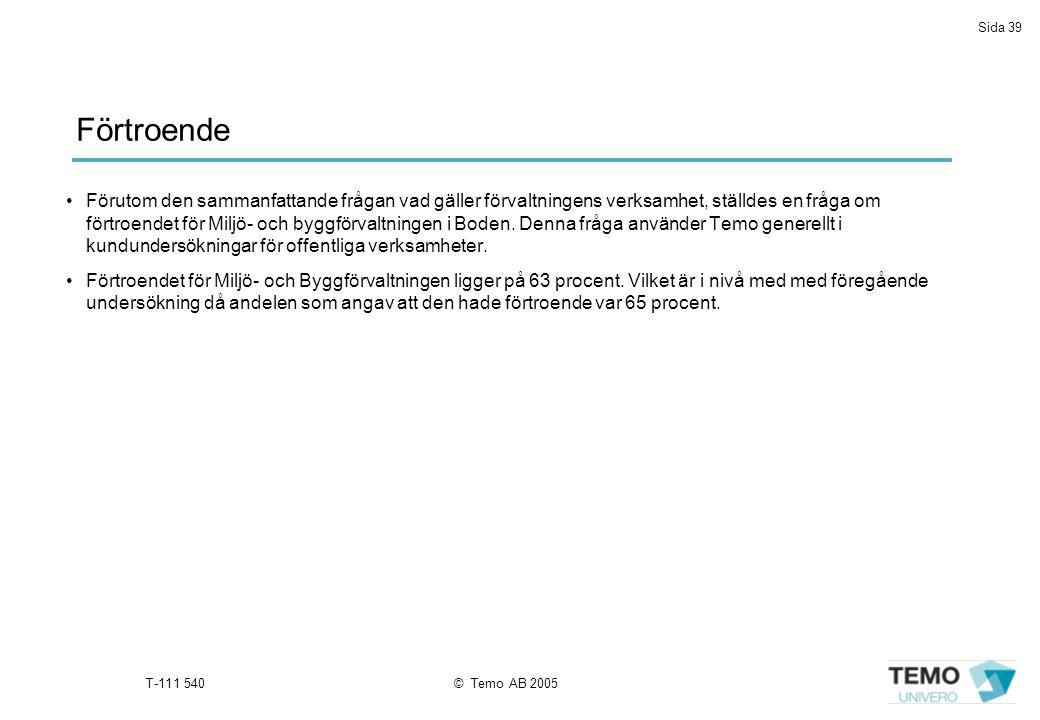 Sida 39 T-111 540© Temo AB 2005 Förutom den sammanfattande frågan vad gäller förvaltningens verksamhet, ställdes en fråga om förtroendet för Miljö- och byggförvaltningen i Boden.