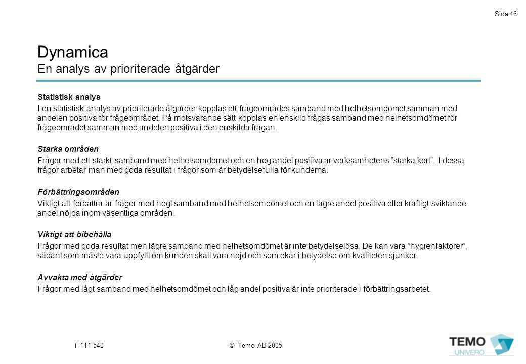 Sida 46 T-111 540© Temo AB 2005 Dynamica En analys av prioriterade åtgärder Statistisk analys I en statistisk analys av prioriterade åtgärder kopplas ett frågeområdes samband med helhetsomdömet samman med andelen positiva för frågeområdet.