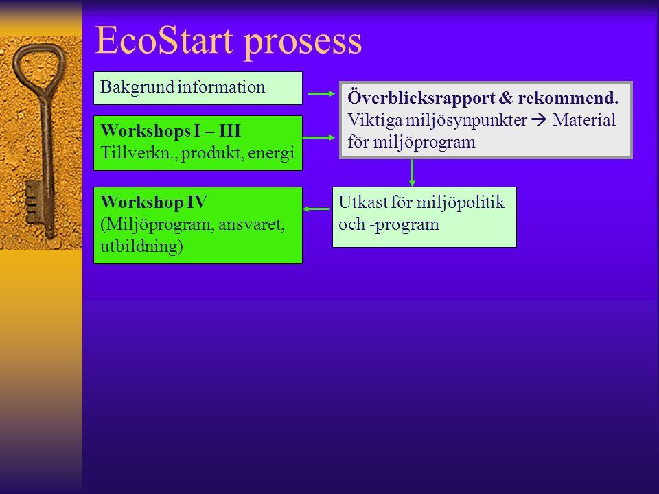EcoStart prosess Bakgrund information Workshops I – III Tillverkn., produkt, energi Workshop IV (Miljöprogram, ansvaret, utbildning) Utkast för miljöpolitik och -program Överblicksrapport & rekommend.