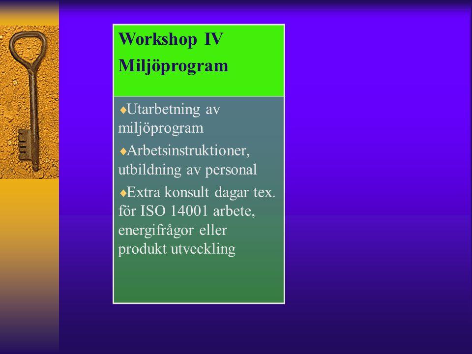 Workshop IV Miljöprogram  Utarbetning av miljöprogram  Arbetsinstruktioner, utbildning av personal  Extra konsult dagar tex.