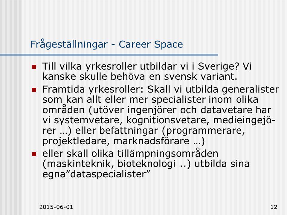 2015-06-0112 Frågeställningar - Career Space Till vilka yrkesroller utbildar vi i Sverige.