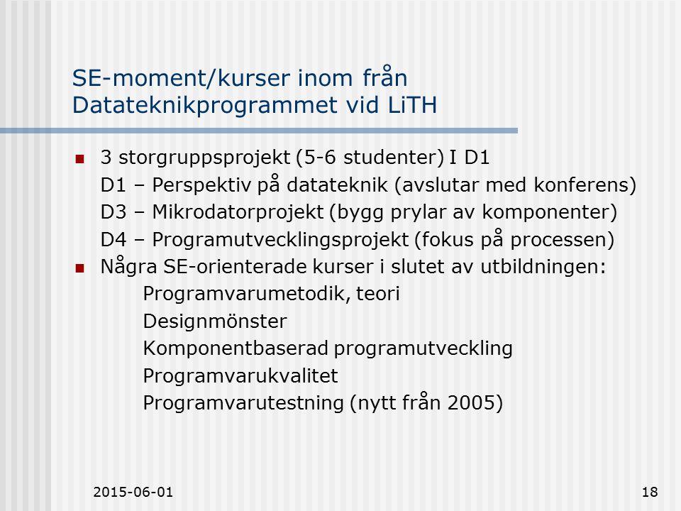 2015-06-0118 SE-moment/kurser inom från Datateknikprogrammet vid LiTH 3 storgruppsprojekt (5-6 studenter) I D1 D1 – Perspektiv på datateknik (avslutar med konferens) D3 – Mikrodatorprojekt (bygg prylar av komponenter) D4 – Programutvecklingsprojekt (fokus på processen) Några SE-orienterade kurser i slutet av utbildningen: Programvarumetodik, teori Designmönster Komponentbaserad programutveckling Programvarukvalitet Programvarutestning (nytt från 2005)