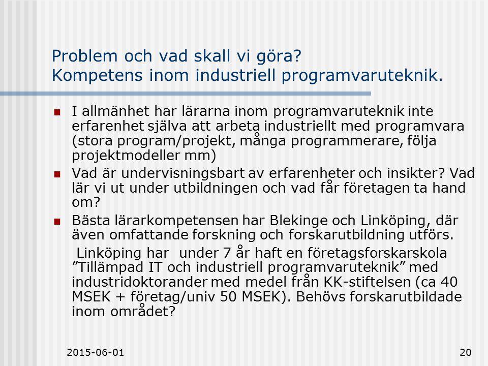 2015-06-0120 Problem och vad skall vi göra. Kompetens inom industriell programvaruteknik.